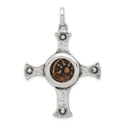 Antiqued Sterling Silver Widow's Mite Coin Cross Pendant