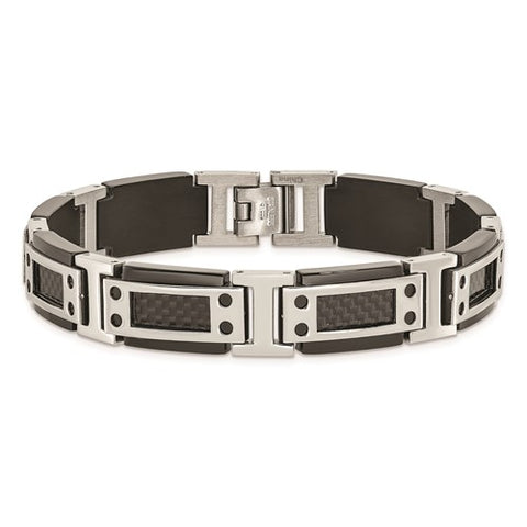 Stainless Steel Polished Black IP-plated with Carbon Fiber Inlay 8.5 in Bracelet