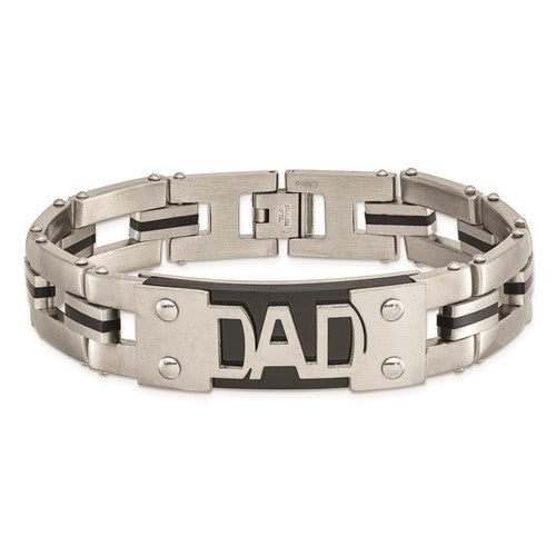 Stainless Steel Brushed and Polished Black IP-plated DAD 9 in Bracelet