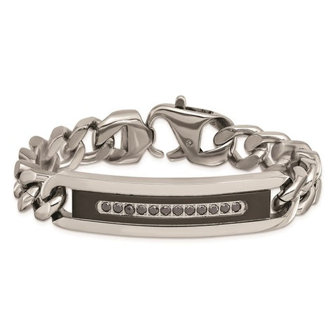 Stainless Steel Polished Black IP with Black CZ 8.25in Curb Chain ID Bracelet