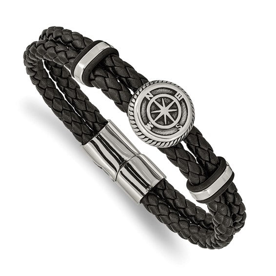 Stainless Steel Antiqued and Polished Black Leather Compass 8in Bracelet