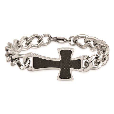 Stainless Steel Polished Black Carbon Fiber Inlay Cross 8.5in Bracelet