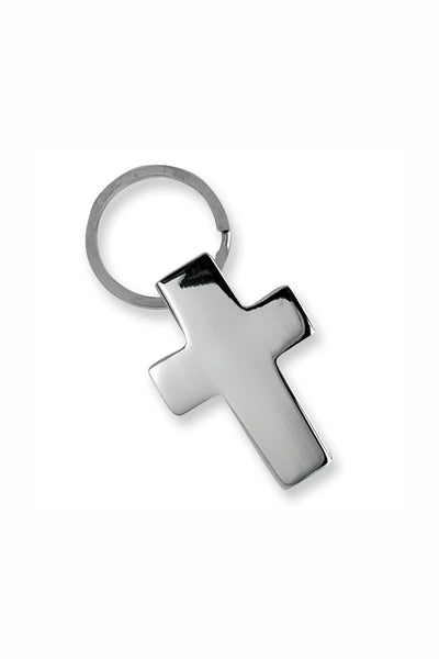 Nickel-plated Cross Key Ring