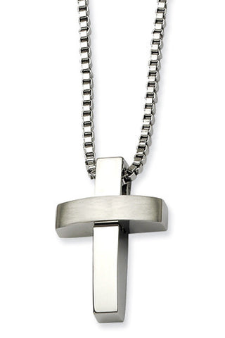 Stainless Steel Brushed and Polished 3D Rounded Cross Pendant