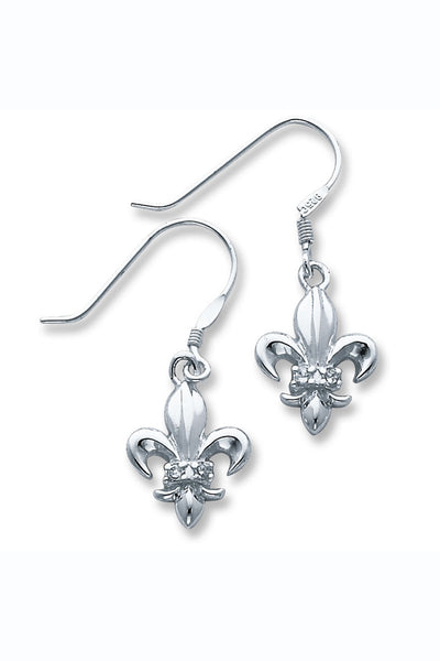 Sterling Silver CZ Fleur de Lis Dangle Earrings
