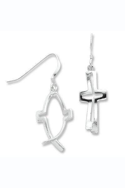Sterling Silver Cross Ichthus Fish Dangle Earrings