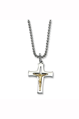 Two-Tone Steel and 14K Accent Crucifix Cross Necklace