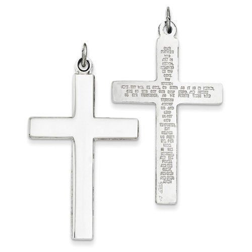 Sterling Silver Reversible Lord's Prayer Cross-Pendant Only