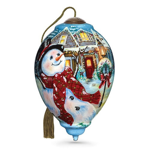 An Old Fashioned Christmas Hand Painted Glass Ornament