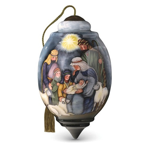 Let Us Adore Him Hand Painted Glass Ornament