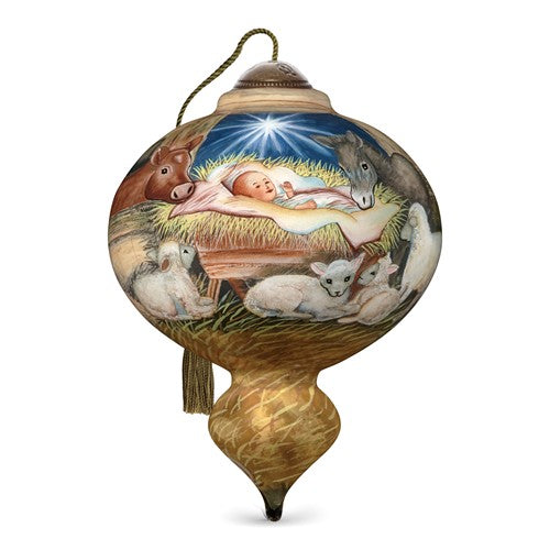 Joy To The World Hand Painted Glass Ornament