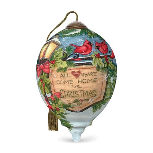 Heart And Home Hand Painted Glass Ornament