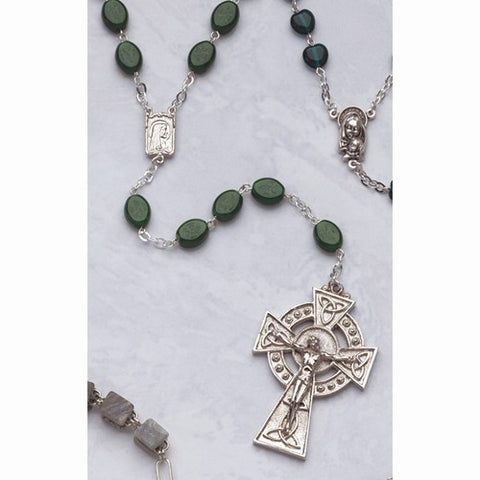 Celtic Crucifix Glass Shamrock Bead Rosary