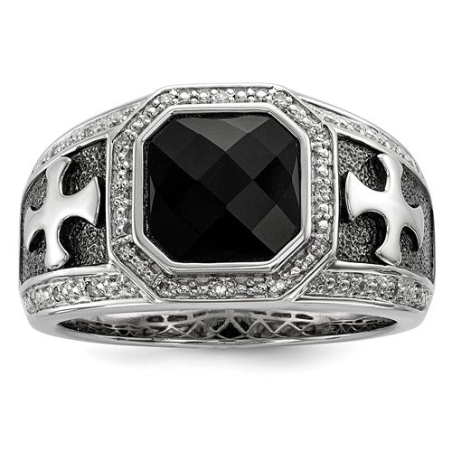Sterling Silver Diamond And Onyx Black Rhodium-Plated Cross Men's Ring