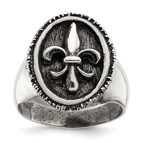 Sterling Silver Antiqued Fleur De Lis Ring-One Size (Approx size 11)