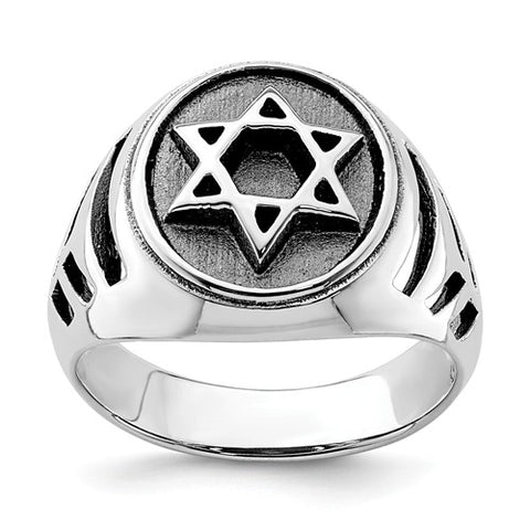 Sterling Silver Rhodium-Plated And Antiqued Star Of David Ring-One Size (Approx size11)