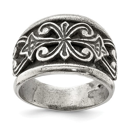 Sterling Silver Antiqued Scroll Design Ring-One Size (Approx size 10)