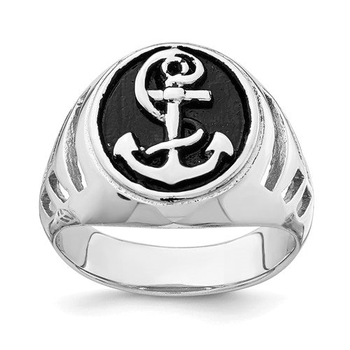 Sterling Silver Rhodium-Plated And Antiqued Plated Anchor Ring-One Size (Approx size 10)