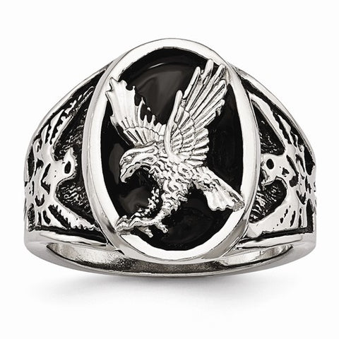 Stainless Steel and Black Enamel Eagle Ring