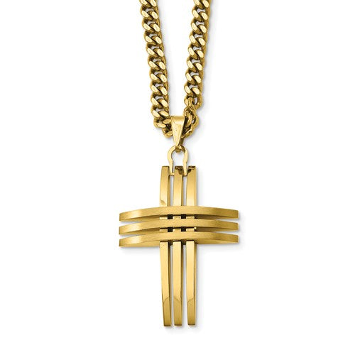 Stainless Steel Gold IP-Plated Cross Pendant Necklace