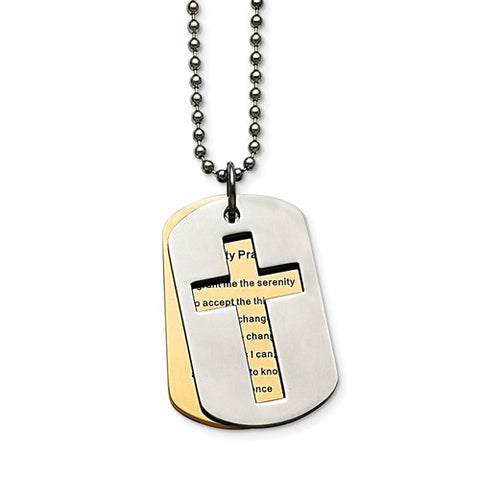 Stainless Steel Polished Yellow IP-Plated Serenity Prayer Necklace