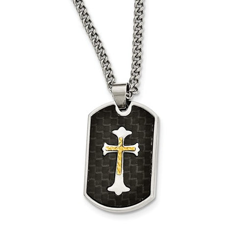 Stainless Steel Carbon Fiber Inlay Gold IP-Plated D/C Cross Necklace