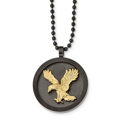 Stainless Steel Brushed/Polished Black/Gold IP-Plated Eagle Disk Necklace