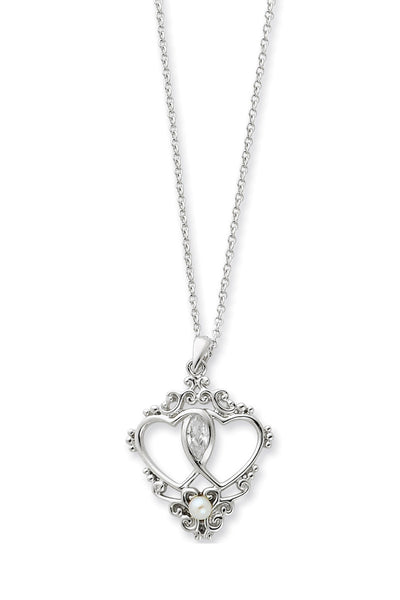 Two Hearts, One Love Pearl CZ Pendant