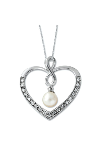Forever My Friend Heart Pendant with Freshwater Cultured Pearl