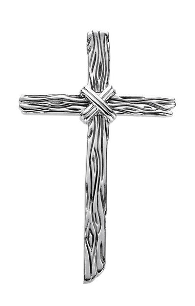 Sterling Silver Woodgrain Cross Pendant