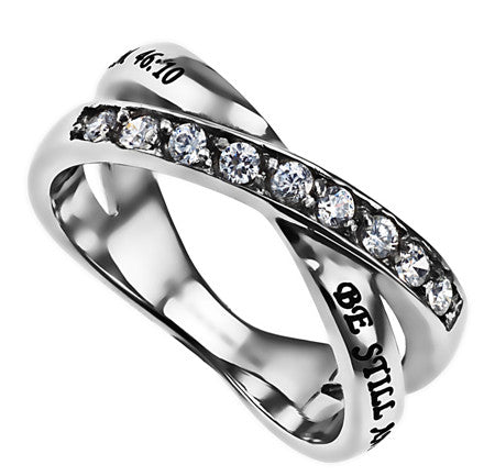 Radiance CZ Wrap Scripture Ring-Be Still