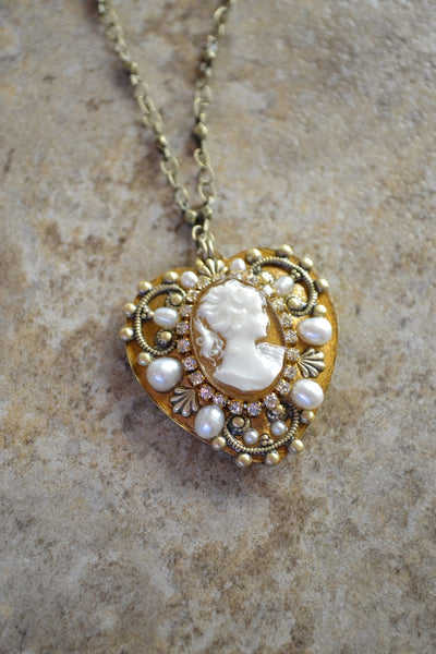 Heart Shaped Cameo Necklace - LAST ONE