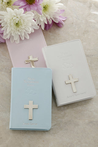 Baby Tiny New Testament with Small Silver Cross KJV-White, Blue or Pink
