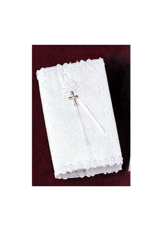 White Eyelet Covered Baby's New Testament with Cross