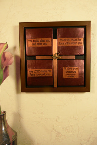 Ceramic 4-tile Scripture Plaque - Cross Copper