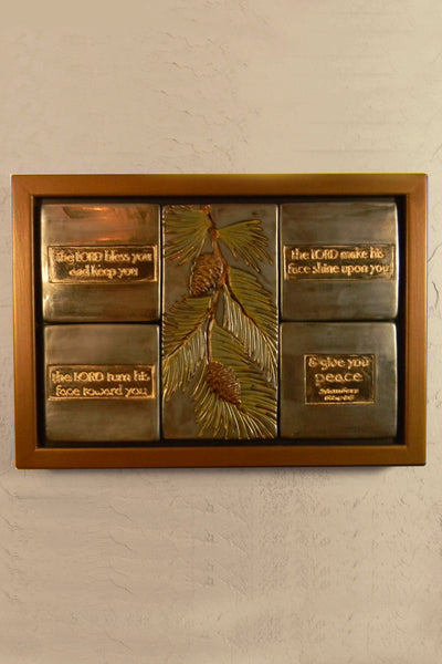 Ceramic 4-tile Scripture Plaque - Pinecones