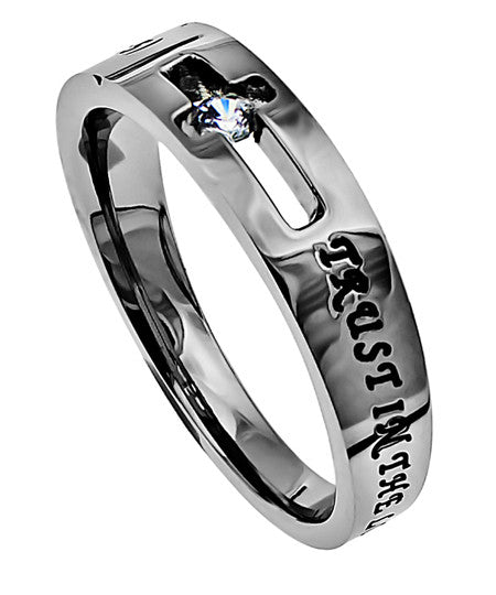 CZ Solitaire Scripture Band-Trust
