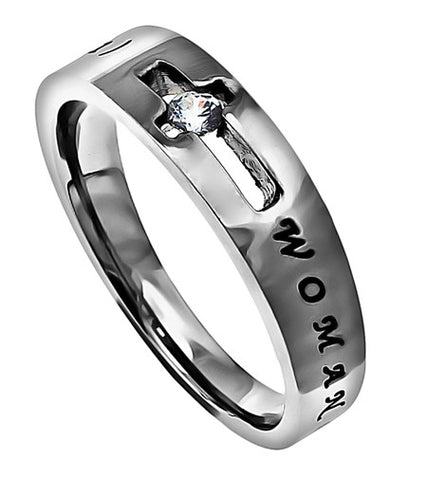 CZ Solitaire Scripture Band-Woman of God