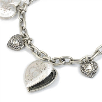 Heart Locket Charm Bracelet-Silver or Bronze