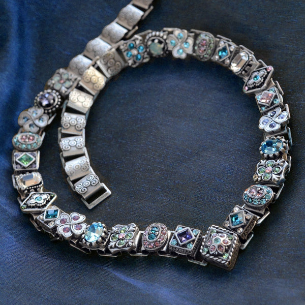Pastel Crystal Vee Collar Necklace