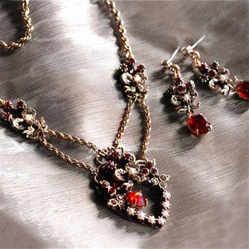 Victorian Garnet Sweetheart Necklace and Earring Set