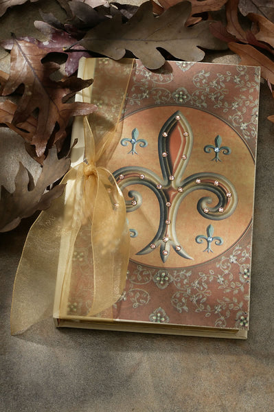 ON SALE Fleur De Lis Jeweled Journal with Swarovski Crystals