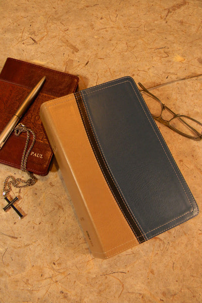 NIV Study Bible, Personal Size, Imitation Leather, Tan Blue - Limited Quantities Available