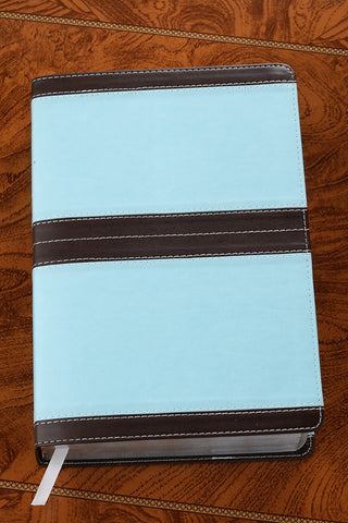 NIV/KJV Side by Side Compact Bible-Chocolate and Turquoise