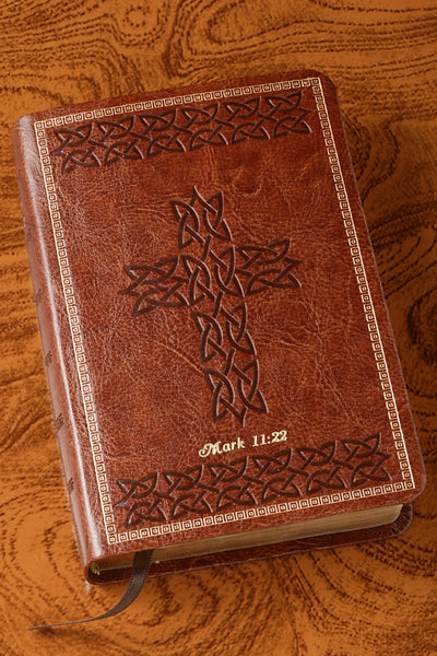 KJV Compact Celtic Cross Bible - Dark Tan