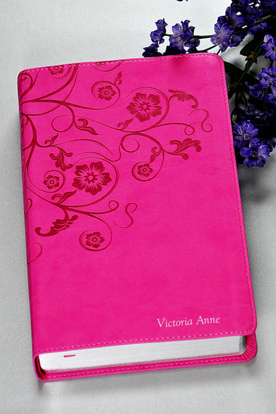 NIV Womens Devotional Bible Raspberry Pink Floral