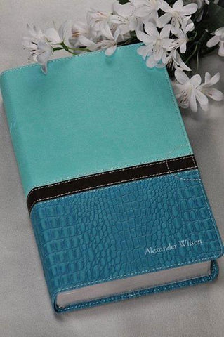 NIV Study Bible Large Print Imitation Leather Turquoise Caribbean Blue