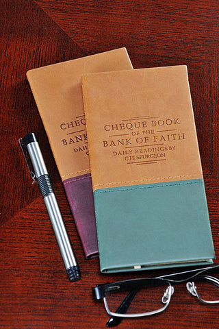 Spurgeon's Cheque Book of the Bank of Faith Devotional-Burgundy (left on image)
