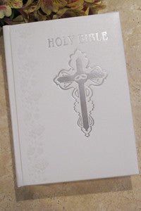 White Large Print Catholic Wedding Bible-NAB