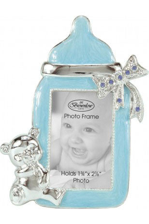 ON SALE 80% off    Baby Bottle Frame-Blue